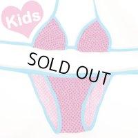 【Kids】ピンクベースドットデザイン三角ビキニ【水着】【平日営業日昼12時まで即日発送可】